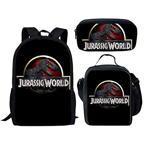 Dinosaure École Sac À Dos De Mode 3 Pcs Adolescents Garçons Filles Étudiant Livre Sacs Cool Jurassic World 3D ImprimerBookbag