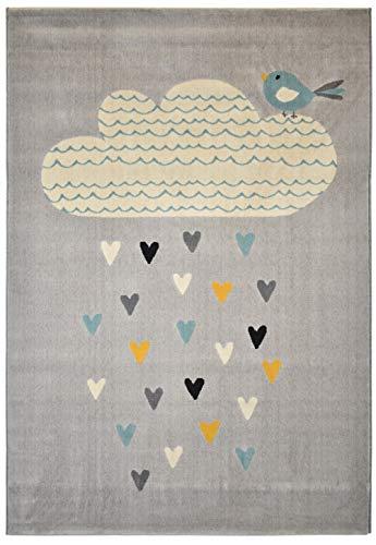 Teppich 120x170cm Hellgrau mit Motiv superweiches Gewebe für Kinderzimmer