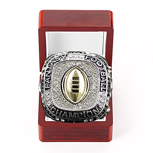 WOSHUAI 2018 Plated Fantasy Football Rugby Design Champion Ring FFL League Champ Ring Mit Holzbox GrößE11