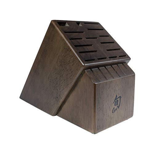 Shun 22 Slot Solid Wood Storage for Steak Knives Knife Block Set Walnut