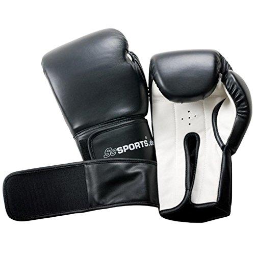 ScSPORTS Boxhandschuhe mit hohem, Training Gloves für Boxen und Kampfsport, Box-Handschuhe 14 oz, schwarz weiß