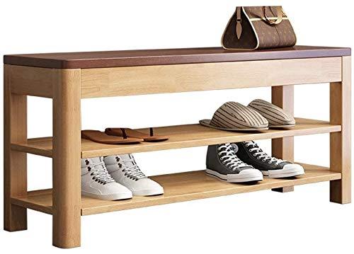 ZouYongKang Banco de zapatos Entrada de la bastidor, sostiene hasta 400 libras, 3 organizador de almacenamiento de madera Estante de zapatillas Soporte industrial Taburete de cama final para el pasill