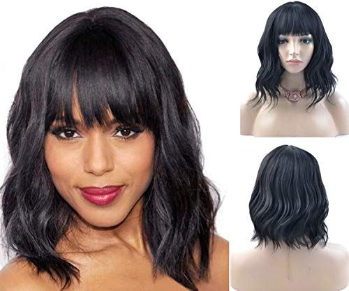 BERON 14'' Short Curly Women Girl's Charming Synthetic Wig with Air Bangs Wig Cap Included (Jet Black)