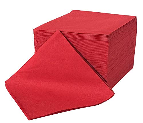 Zellstoff-Servietten zweilagig 24x24 (gefaltet 12x12) - (rot) - 100 Stück