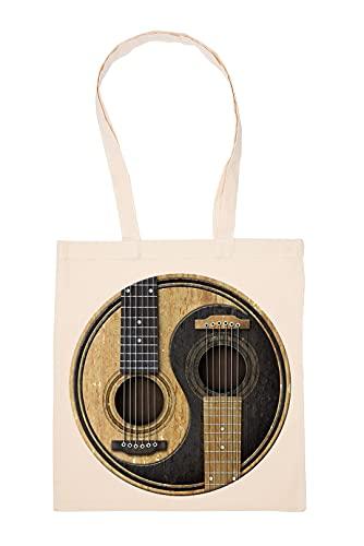 Yin Yang Acústico Guitarras Bolsa De Compras Beige Durable Reutilizable Eco Friendly Reusable Shopping Bag