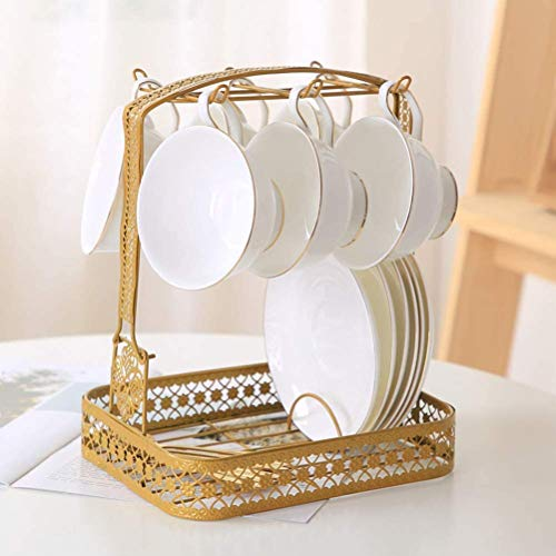 Piscepio Mug Holder Coffee Rack Coffee Cup Holder Tea Set Stand Dishes Organizer Wrought Iron Mug Drainer Storage Drying Rack Organizer Desktop Rack Stand Bronze Gold