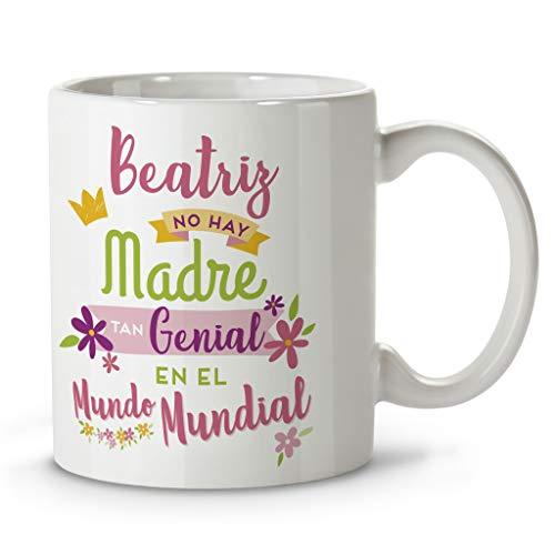LolaPix Taza Día de la Madre. Regalos Personalizados con Nombre y Texto. Tazas con Frases Originales. Genial Rosa