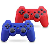 Vinklan PS3 Controller Wireless Double Shock Gamepad for Playstation 3, Six-Axis Wireless PS3 Controller with Charging Cable (Red & Blue)
