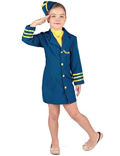 Generique - Blaues Stewardess Kostüm für Mädchen 134/140 (10-12 Jahre)
