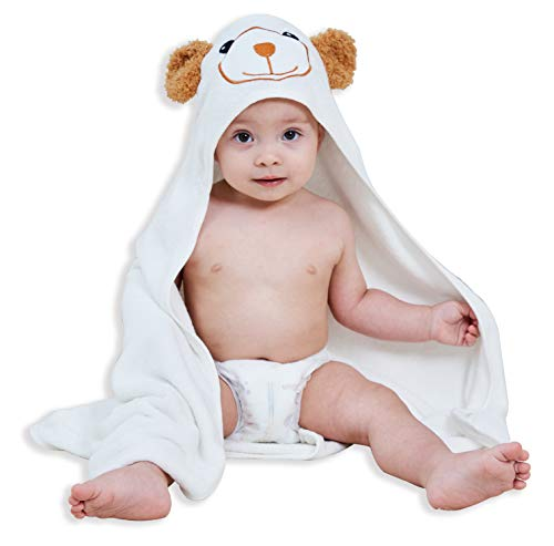 Premium Bamboo Baby Bath Towel - Ultra Absorbent Soft Boy & Girl Hooded Towels for Infant and Toddler - Cute Design Keep Warm Newborn Towel Shower Gifts - White - 30 x 30 ''