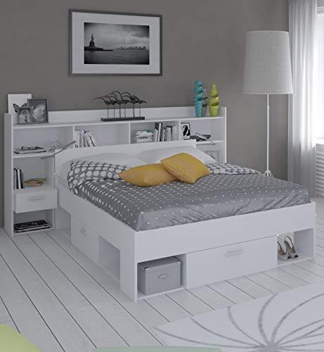 Miroytengo Pack Muebles Dormitorio habitación Completo Chicago Color Blanco Mate Moderno (Cama + cabecero)
