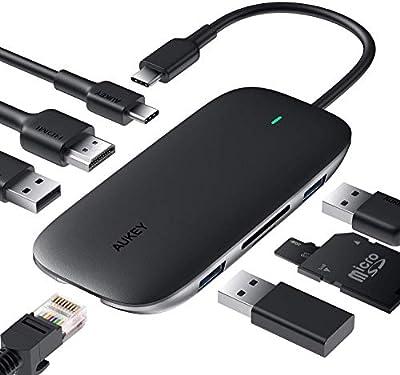 USB Type Cハブ AUKEY 8-in-1 usb c ハブ 100W PD急速充電/イーサネット/4K HDMI/USB3.0×3/SD&Micro SDカードスロット搭載 Macbook/ChromeBook 他対応 CB-C71