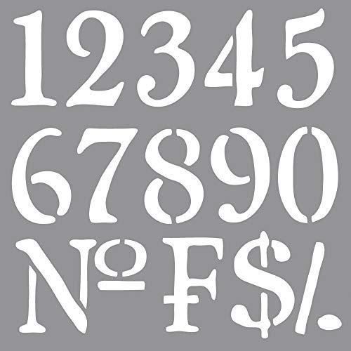 RAYHER HOBBY 38907000 Schablone Nummern, 30,5 x 30,5 cm, Polyester, SB-Btl 1 Stück