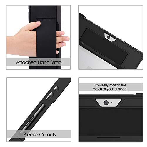 MoKo Hülle Kompatibel mit Surface Go 2 2020 / Surface Go 2018 10 (Inch), All-In-One Schutzhülle mit Stifthalter & Handschband & Kompatibel mit Typ Cover Tastatur für Microsoft Surface Go 10 - Schwarz