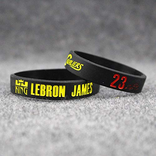Xi-Link Basket Bracciale, Stella del Basket Lebron James Braccialetto Modello Firma di Basket, Il Movimento della Mano Luminosa all-Star Band, Fascia da Polso in Silicone (Color : Black, Size : 19cm)