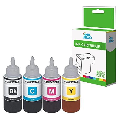 InkJello Recambio de botella de tinta compatible para EcoTank ET-2710 ET-2711ET-2712 ET-2714 ET-2715 ET-2720 ET-2726 ET-4700 104 (negro/cian/magenta/amarillo, 4 unidades)