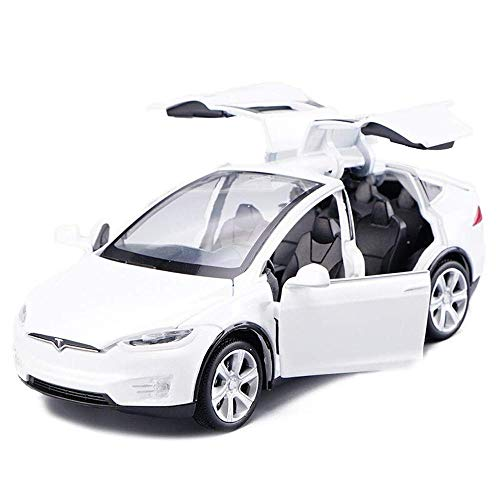ANTSIR Car Model X 1:32 Scale Alloy diecast Pull Back Electronic Toys with Lights and Music,Mini Vehicles Toys for Kids Gift (White)