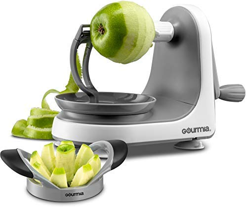 Gourmia GMS9330 Apple Peeler, Corer and Slicer – Suction Non Slip Counter Grips - Automatic Hand Crank - Ultra Sharp Stainless Steel Blades - BPA Free – Peels, Cores and Cuts in Seconds