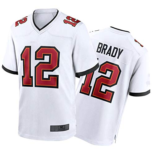 Tǒm Brǎdy White Jersey, Camiseta de Rugby para Hombres, Manga Corta para Las Finales 2020-2021, Manga Corta para la Competencia del Equipo de Ventilador / # 12 Classic -XL