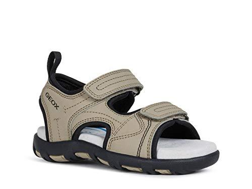 Geox Unisex - Kinder Sandalen JR Sandal PIANETA, Klettverschluss junior Kleinkinder Kinder-Schuhe toben Spielen verspielt,Sand/Black,34 EU / 1.5 UK