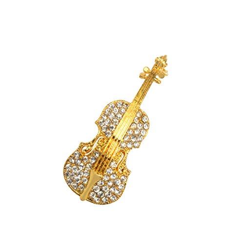 dailymall Multi Styles Crystal Strass Frauen Männer Brosche Pins Weihnachten Hochzeit - Geige