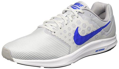 Nike Downshifter 7, Zapatillas de Running Hombre, Blanco (Blanco/Azul/Gris/Pure Platinum/Hyper Cobalt/Wolf Grey), 47 EU