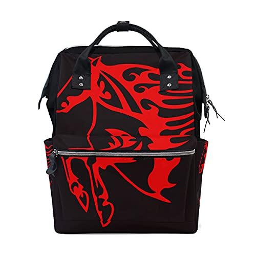 LDIYEU Arte De Caballo Rojo Bolsa Compra Reutilizables Bolsas de Mano para Trabajo Escuela Comestibles Plegables de Playa para Mujeres Niñas