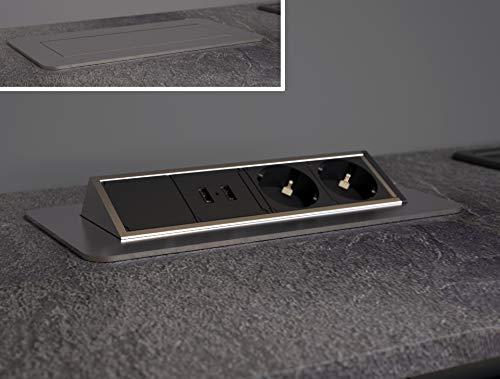 SCHÜTTE Regleta plegable para la superficie de trabajo (2 puertos USB y 2 enchufes de 230 V), enchufe empotrable para la cocina para reequipamiento, enchufe de mesa de acero inoxidable.