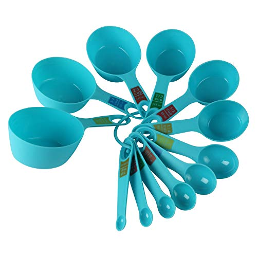 INKULTURE Plastic Measuring Cups and Spoon Set with Ring Holder, 12 Piece Set, Blue