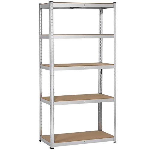Topeakmart 5 Tier Storage Rack Heavy Duty Adjustable Garage Shelf Steel Shelving Unit, 71in Height, 1 Bay Garage Shelf