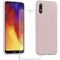All Do Funda para Huawei Y6 2019, Protector Pantalla Cristal Templado, Carcasa de Silicona Líquida Gel Ultra Suave Funda con tapete de Microfibra Anti-Rasguño - Rosa