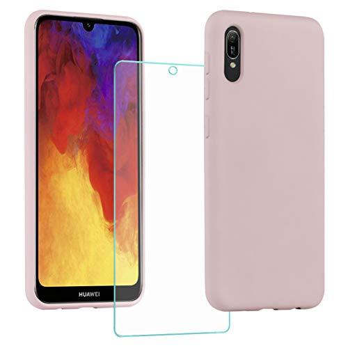 All Do Funda para Huawei Y6 2019/Y6s 2019, Protector Pantalla Cristal Templado, Carcasa de Silicona Líquida Gel Ultra Suave Funda con tapete de Microfibra Anti-Rasguño - Rosa