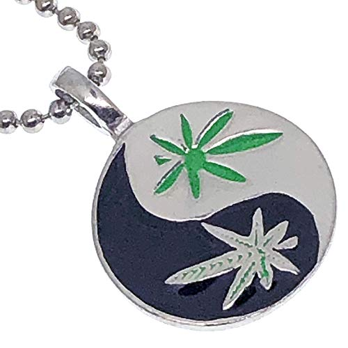 Marijuana Jewelry Weed Pot Yin Yang Taoist Pewter Unisex Men's Pendant Necklace Charm Amulet W Silver Ball Chain