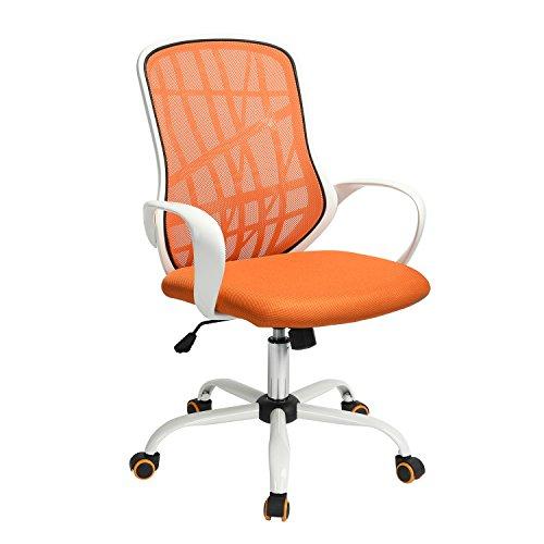 FurnitureR Silla ergonómica de Escritorio de Oficina Sillas de Trabajo giratorias de Malla Ajustable para el hogar con Asiento Acolchado y reposabrazos Naranja