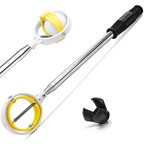 prowithlin Golf Ball Retriever Extendable, Stainless Golf Ball Retriever for Water Bushes Alligator, Golf Ball Pick Up Retriever Grabber, Golf Gift for Men, Golf Accessories for Men (1.3, 6ft)