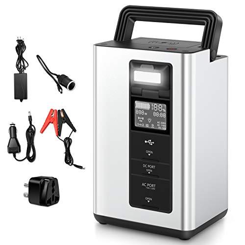 Vecukty 310Wh 84000mAh Generador Portátil Solar, Salidas de AC 220V y DC 12V, Carga Type-C USB QC 3.0, Carga Inalámbrica y Luz LED para Acampar al Aire Libre, Viajes, Emergencia