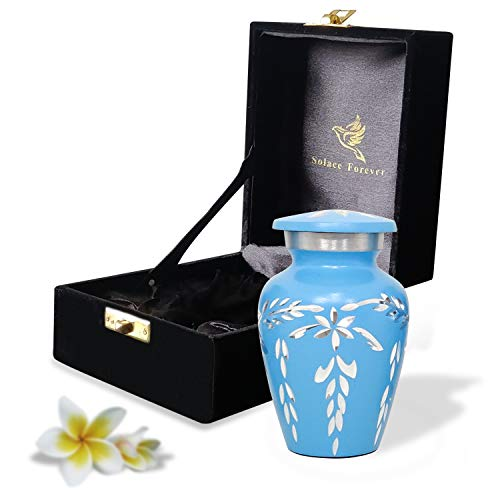 Blue Keepsake Urn - Mini Blue Urn for Human Ashes with Premium Box & Bag - Small Cremation Urn for Ashes - Honor Your Loved One with Funeral Urn Blue - Unique Memorial Urn for Men, Women & Infants