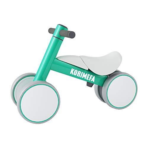 KORIMEFA Bicicleta de Equilibrio para Bebés 10-36 Meses sin Pedalescon 4 Ruedas Ultraligera y Triciclos Bebes, Correpasillos Bebes 1 Año (Verde)