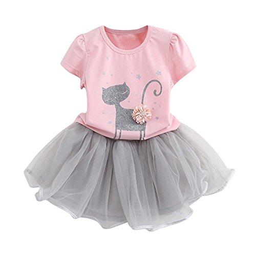 BYSTE Abito Bambina Ragazze Abiti Gatti 3D Fiori Manica Corta T-Shirt + Gonna di Garza Vestito da Principessa Impostato (Rosa, 2 Anni)