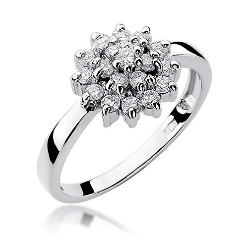 Damen Ring 585 14k Gold Weißgold natürlicher echt Diamant Brillanten