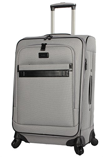 Nicole Miller Designer Luggage Collection - Expandable 24 Inch Softside Bag - Durable Mid-sized Lightweight Checked Suitcase with 4-Rolling Spinner Wheels (24in, Coralie Grey)