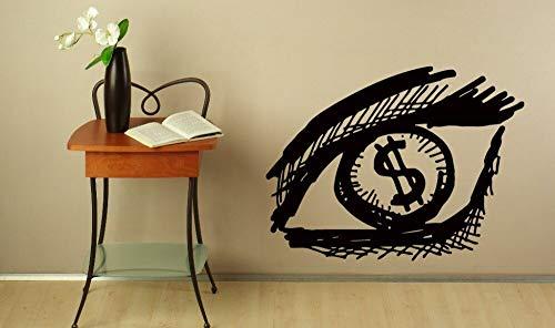 guijiumai Kreative Augen Vision Dollar Vinyl Wandbild Home Schlafzimmer Spezielle Dekoration Kunst Wandaufkleber Auge Muster Tapete W100X133CM