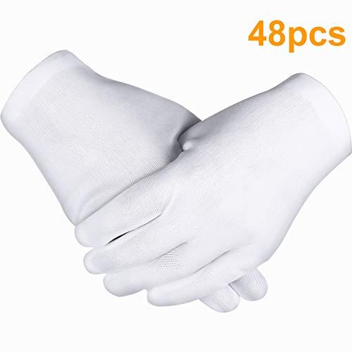 Zhehao 24 Paar Weiße Handschuhe, Baumwoll Handschuhe, Münzen Schmuck Silber Inspektion Handschuhe, Dehnbare Futter Handschuhe (48 Stücke)