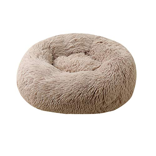 GUOCU Pet Dog Cat Calming Bed Round Plush Donut Nest Bed Soft Removable Cushion Soft Warm Cuddler Bed Bolster With Non Slip Base For Large Dog,Khaki,XS:40cm