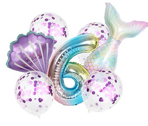Juego de globos gigantes de cola de sirena de 32 pulgadas, 7 unidades (1 globo de número, 1 globo de cola de Mylar, 1 globo de concha y 4 globos de látex de lentejuelas), aluminio, Sirena, Number6