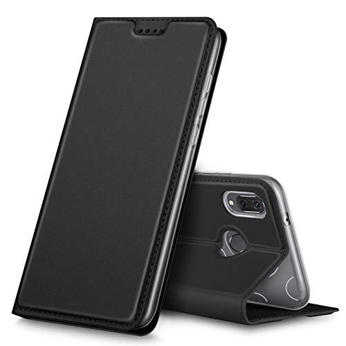 Verco Handyhülle für P Smart 2019, Premium Handy Flip Cover für Huawei P Smart 2019 Hülle [integr. Magnet] Hülle Tasche 6,2 Zoll, Schwarz