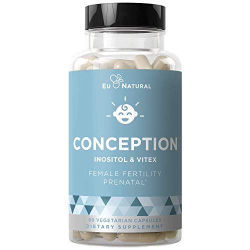 Conception Fertility Prenatal Vitamins – Regulate Your Cycle, Balance Hormones, Aid Ovulation – Myo-Inositol, Vitex, Folate Folic Acid Pills – 60 Vegetarian Soft Capsules