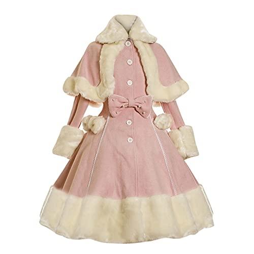 Briskorry Vestido medieval para mujer, estilo victoriano, estilo rococ, vestido de noche, festival, Fuzzy Fluffy, vestido de fiesta, baile, vestido de baile, vestido retro de princesa., Rosa., L