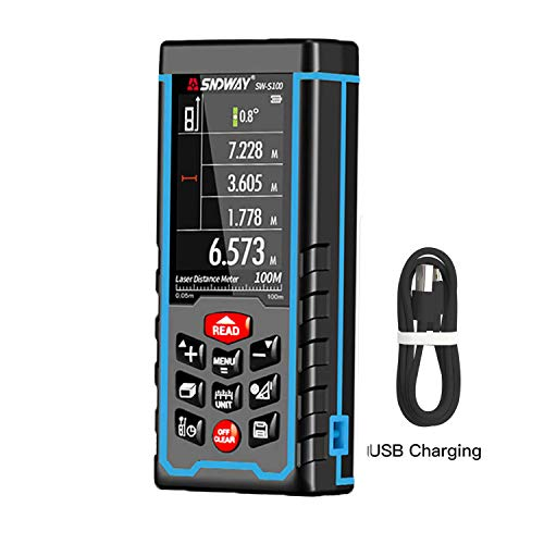 B & H-ERX Lasermeting 329Ft/100 m, laserafstandsmeter M/In/Ft, achtergrondverlichting, elektronische niveau, pythagoreisch/oppervlak/volume, oplaadbaar, met Bluetooth App Control