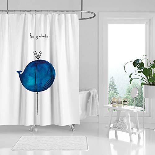 Blue Cartoon Whale Balloon Duschvorhang mit 12 Vorhangringen, einfaches, modernes, wasserdichtes Polyester-Baddekor-Stoffset mit 12 Haken, farbecht, wasserdicht, 180 * 180 cm